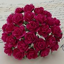 WOC Flowers - Fuchsia Pink Mullberry Paper Roses - 15mm