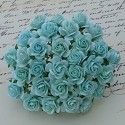 WOC Flowers - Pastel Green Mullberry Paper Roses - 15mm