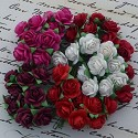 WOC Flowers - Mixed Red/White/Fuchsia Mullberry Paper Roses - 15mm