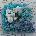 WOC Flowers - Mixed Blue Tone & White Mullberry Paper Roses - 15mm