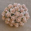 WOC Flowers - Pale Peach Mullberry Paper Roses - 15mm