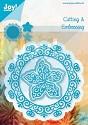Noor! Design - Cutting & Embossing stencil - Blauwe mal - Cirkel met bloem