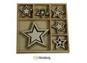 Houten ornamenten - CraftEmotions - Sweet Vintage Christmas 5 punt sterren