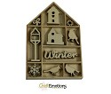 Houten ornamenten - CraftEmotions - Home for Christmas vogel/vogelhuisje