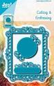 Noor! Design - Cutting & Embossingstencil - Blauwe mal - Rechthoekig rame met r