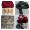 Haakpakket - Granny & Bobbelstitch tas - Wijnrood Mr.Cey 28