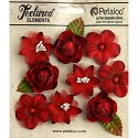 Petaloo - Textured Elements Mixed Mini Blossoms 9/Pkg - Red