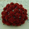 WOC Flowers - Red Mullberry Paper Roses - 15mm