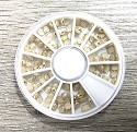 Accessoires - Halfparels ivoor met gouden rand - 4mm