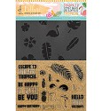 Kippers Hobby - CUT-IES - Collage stencil & stamps set - Escape to Tropical