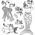 Dylusions - Dyan Reaveley`s - Cling Stamps - Plenty More Fish In The Sea