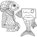 Dylusions - Dyan Reaveley`s - Cling Stamps - Fish Face