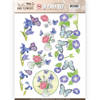 3D Push Out - Jeanine's Art - Classic Butterflies and Flowers - Butterflies on blue flowers