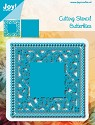 Noor! Design - Blauwe mal - Square Butterfly with Frame