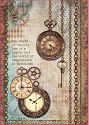 Stamperia - Rice Paper A4 - Clockwise Clock & Keys