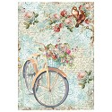 Stamperia - Rice Paper A4 - Bike & Branch with Flowers