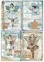 Stamperia - Rice Paper A4 - A Blue Stars Card