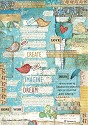 Stamperia - Rice Paper A4 - Patchwork Writings Little Birds & Hearts