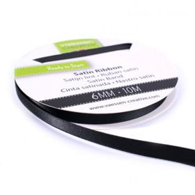 Vaessen Creative - Satijnlint dubbel 6mm - zwart