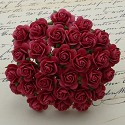 WOC Flowers - Coral Red Mullberry Paper Roses - 15mm