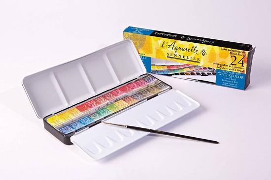 Sennelier - l`Aquarelle set 24 halve napjes + penseel