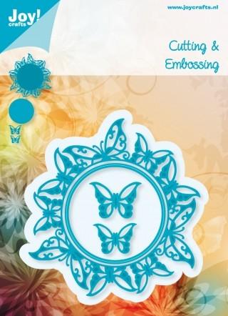Noor! Design - Cutting & Embossing stencil - Rond met vlinders (4st)