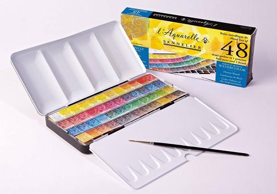 Sennelier - l`Aquarelle set 48 halve napjes + penseel
