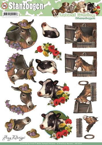 3D Pushout - Amy Design - Animal Medley - Horse and Cow