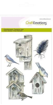 Clearstamp CraftEmotions - Botanical Summer - Vogelhuisjes