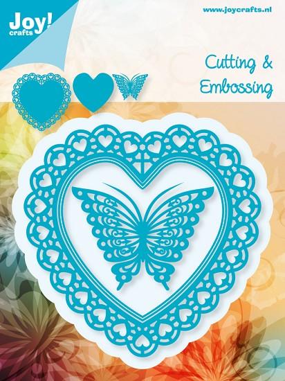 Noor! Design - Cutting & Embossing stencil - Blauwe mal - Open Hart met vlinder