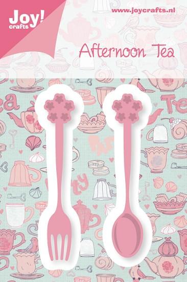 Noor! Design - Cutting & Embossing stencil - Afternoon Tea - Theelepel + vorkje