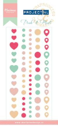Marianne Design - Project NL - Enamel Adhesive stickers - Pink & Mint