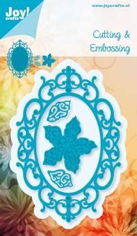 Noor! Design - Cutting & Embossingstencil - Blauwe mal - Ovaal + Poinsettia