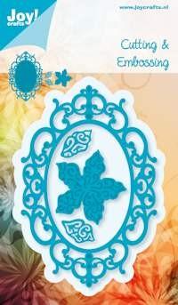 Noor! Design - Cutting & Embossingstencil - Blauwe mal - Ovaal + Poinsettia