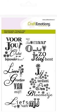 Clear stamp - CraftEmotions - A6 tekst NL Lieve groetjes van mij
