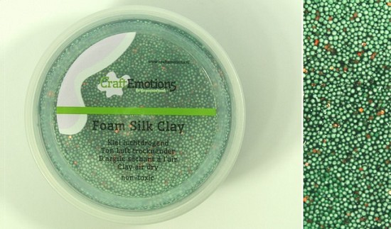 CraftEmotions - Foamball clay - luchtdrogende klei - glitter groen