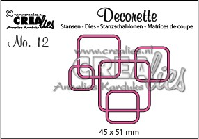 Stansmal - Crealies - Decorette no 12 - Afgeronde vierkanten in elkaar