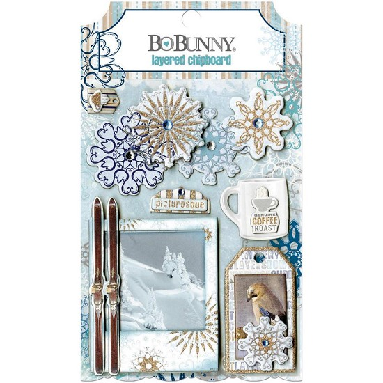 BoBunny - Whiteout - Self-adhesive Chipboard