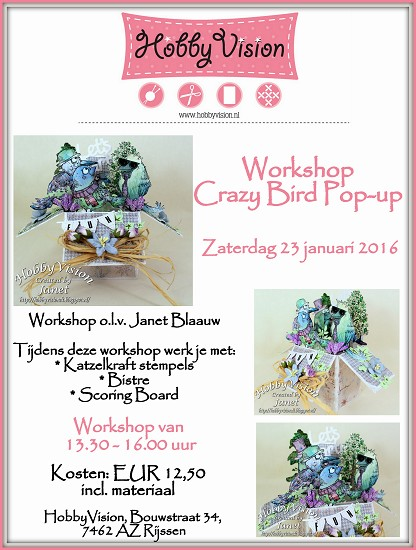 Workshop - Janet Blaauw - Crazy Bird Pop-up - Zaterdag 23 januari 2016