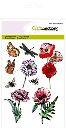 PRE-ORDER 2 - CraftEmotions clearstamps A6 - klaprozen, vlinders Poppy fields (new 02-16)