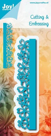 Noor! Design - Cutting & Embossing stencil - Blauwe mal - Rand bloemetjes
