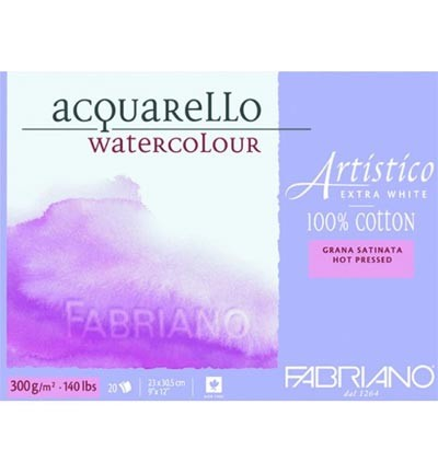 Aquarelpapier - Fabriano Artistico -  Extra white, 100% cotton, Hot Pres(glad)