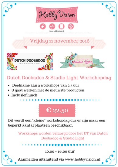 Dutch Doobadoo / Studio Light Workshopdag - Vrijdag 11 november 2016