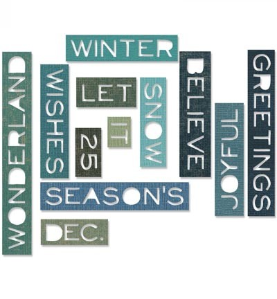 Sizzix - Thinlits Die Set - Holiday Words: Thin