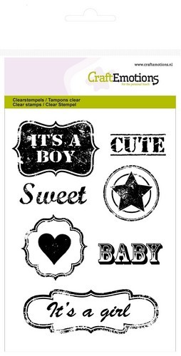CraftEmotions - Clearstamp - Lovely Baby Vintage tekst labels