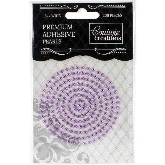 Couture Creations - Premium Adhesive Pearls 3mm / 206 stuks - Petunia Purple