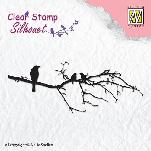 Clearstamp Nellie Snellen - Silhouet - Tak met vogels