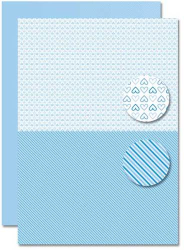 Decoupage sheet - Doublesided - Lightblue - Babyboy-hearts