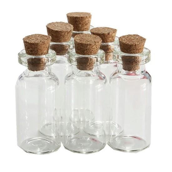 Mini flesjes met kurk - 0,5ml - 10 stuks