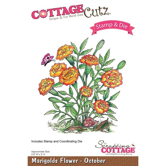 CottageCutz Stamp & Die Set - Marigolds